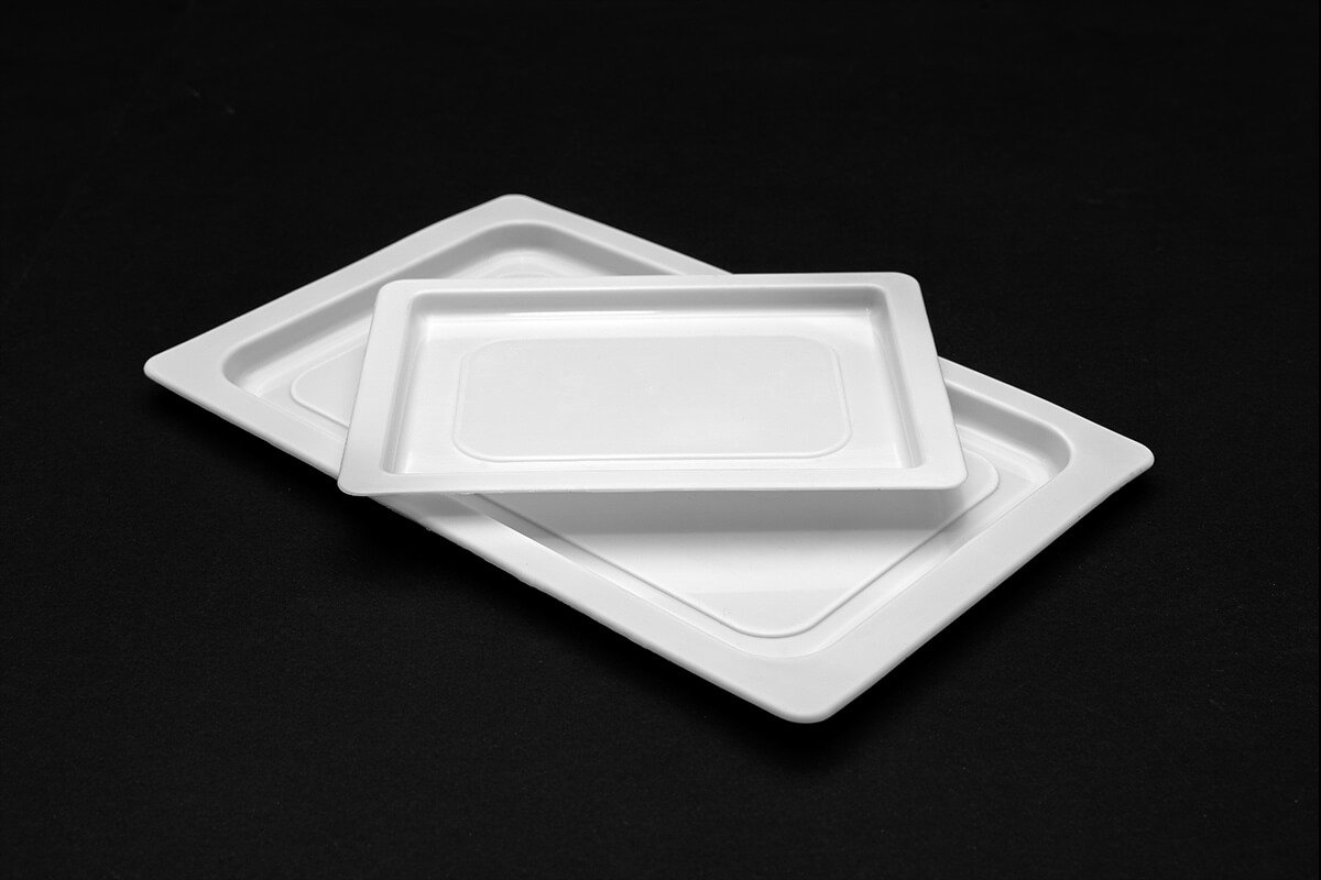 Plastic tray of two hard and rectangular sizes