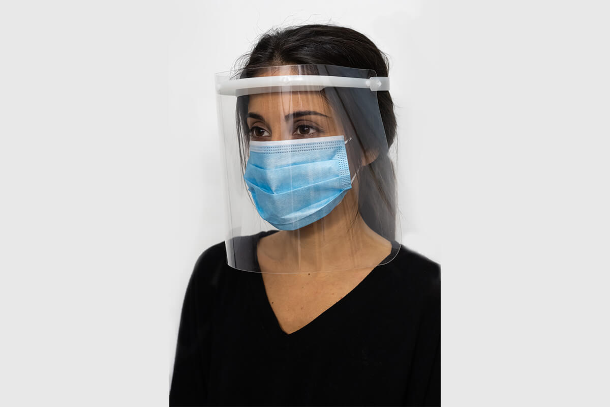 Model with home-made and approved facial protection display