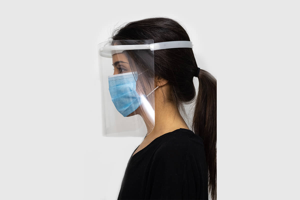 Model with home-made facial protection display for sale