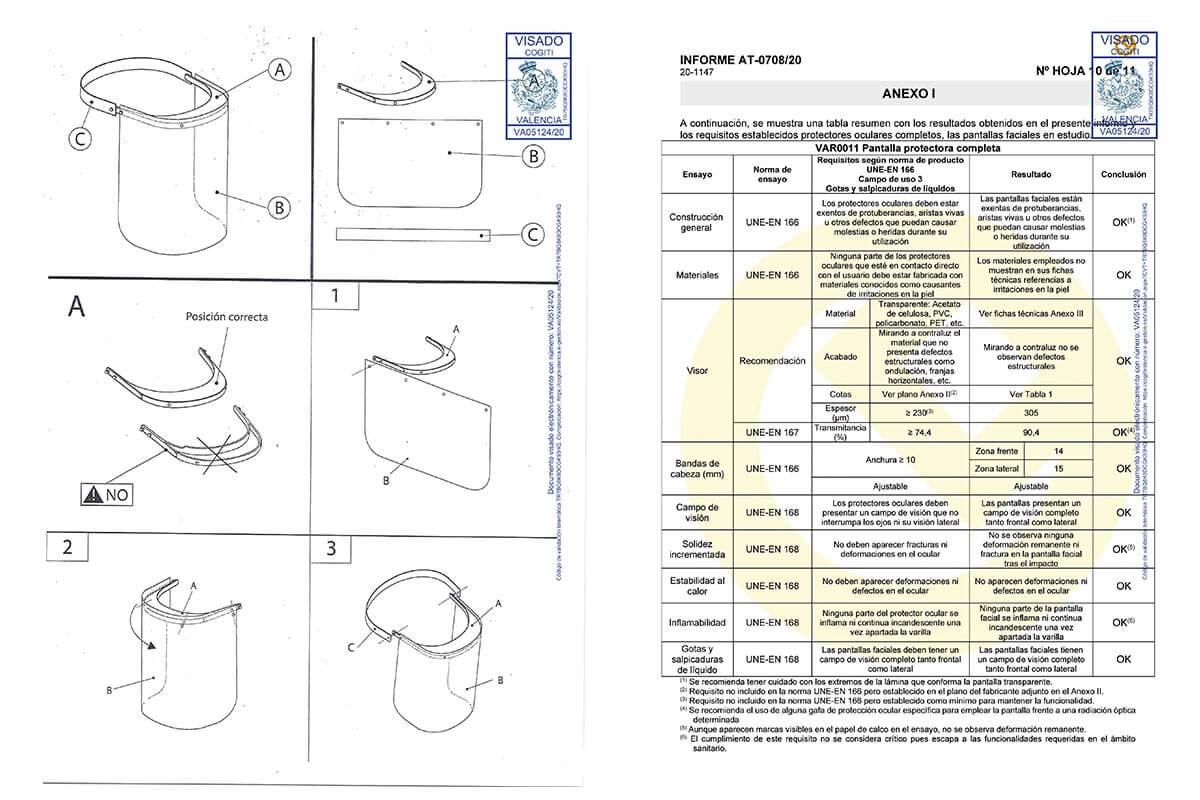 Homologación y Ficha técnica de la Pantalla protectora facial hoja 2